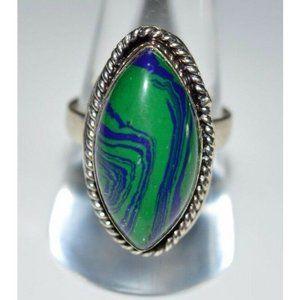 VTG .925 Sterling Silver Blue Green Azurite Caboch